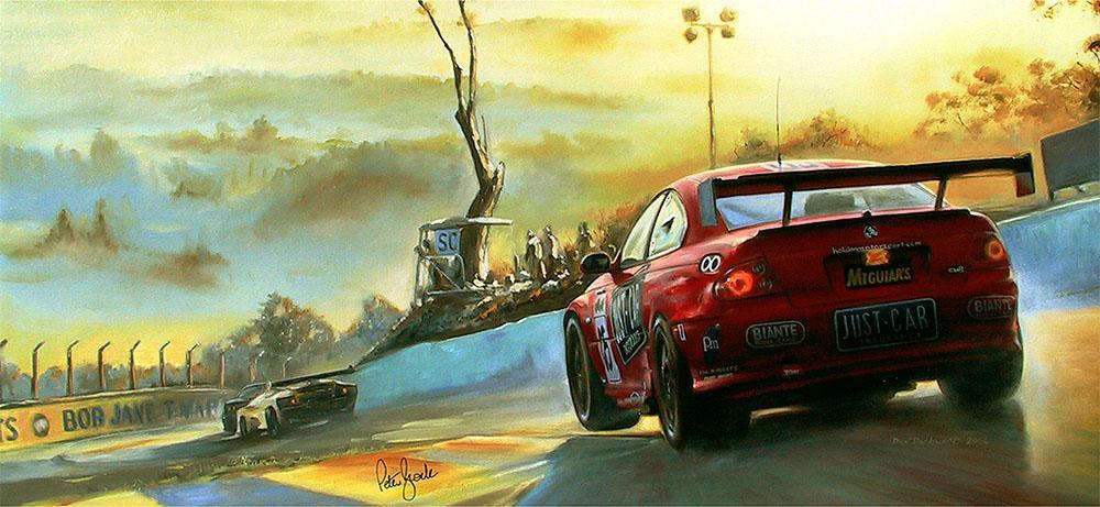<p>Brock/Murphy/Bright/Kelly<br /> 7-litre Holden Monaro. Winner 2003 Bathurst 24 hrs.</p> <p>Original oil painting, signed by the late Peter Brock.</p>