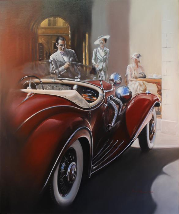 1936 Mercedes-Benz 500K, Special Roadster.<br />The Mercedes-Benz 500K (W 29, 100/160 hp) was one of the greatest performance automobiles of the Thirties. Original Oil Painting.