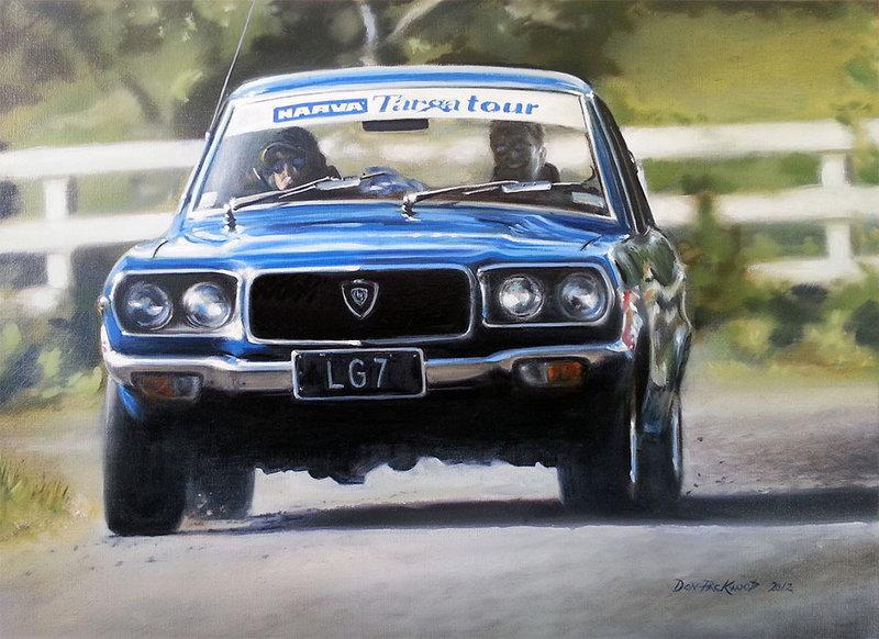 1973 Mazda RX3 on the 2002 Targa Tour, New Zealand.<br />	Original Oil Painting.