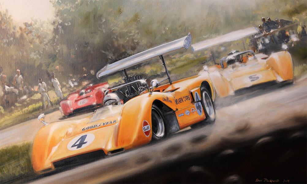 <p>Original oil painting on Canvas - Bruce Mclaren - A 1, 2, 3 for the Kiwi boys at Watkins Glen 1969 CAN-AM.</p>