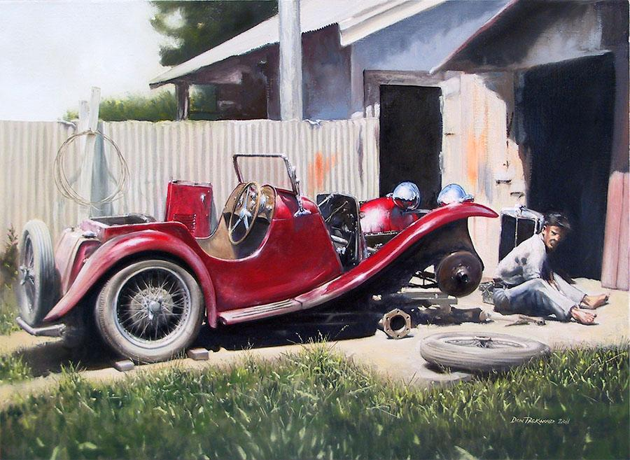 MG P-type, production 1934-36. So nostalgic! I think that just about everyone can relate to this wonderful scene.<br />Original Oil Painting.