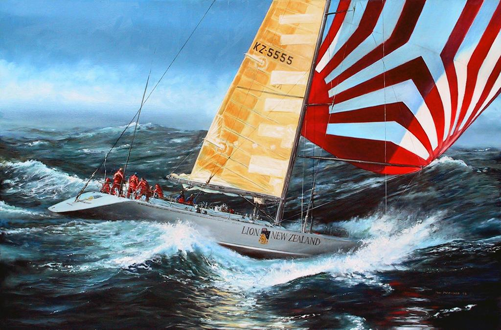 Lion New Zealand during the Whitbread Round the World Race, 1985-86 skippered by Sir Peter Blake (sponsored by the Lion Brewery).<br />Original Oil Painting.