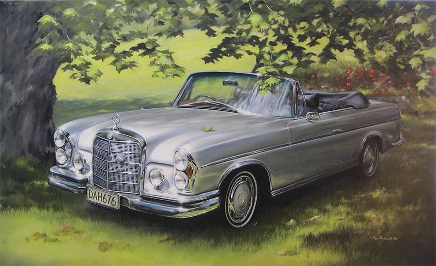 Private commission: Mercedes-Benz - 220 SE<br />	Original Oil Painting.