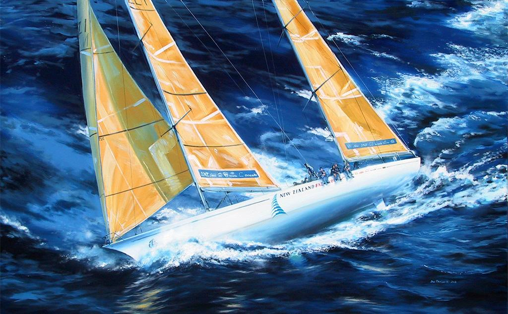"Whitbread Maxi ""New Zealand Endeavour"", the 1993-94 winner of the Whitbread Round the World Race (Now known as the Volvo Ocean Race) skippered by Grant Dalton.<br />Original Oil Painting."