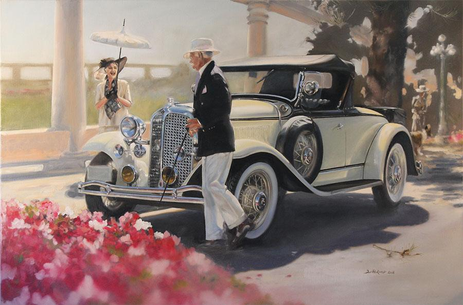 1931 Chrysler CM6 Roadster. Painting inspired by the Napier Art Deco Event 2012, New Zealand.Original Oil Painting.