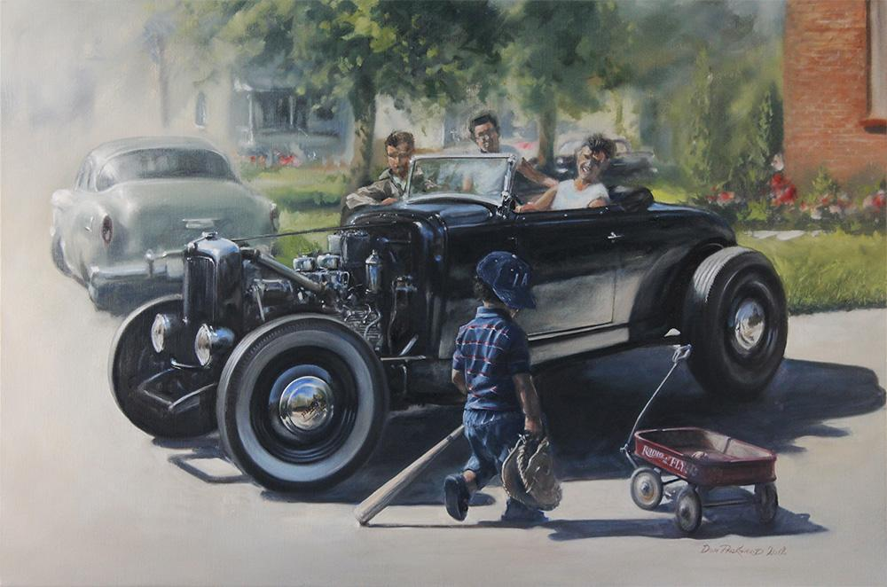 A look back to the good old days of hot rods, little red wagons and baseball heroes. A time when you could put a car together in your back yard, flathead V8's and a bunch of body parts.<br />Original Oil Painting.