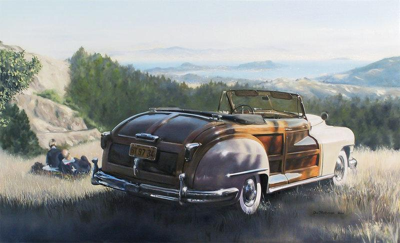 1947 Chrysler Town & Country (Woody) Convertable.This was Chrysler's top-of-the-line vehicle and the pinnacle of postwar glamour. Original Oil Paintnig.
